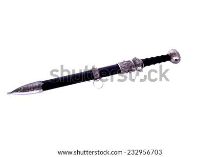 Gladius scabbard, guard, and hilt isolated over white - stock photo