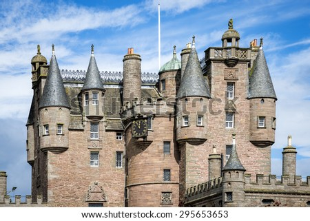 Glamis Castle architectural details, Scotland. Glamis Castle is situated beside the village of Glamis. Is the home of the Earl and Countess of Strathmore and Kinghorne, and is open to the public. - stock photo
