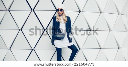 Glamorous blonde on the street. urban fashion  style - stock photo