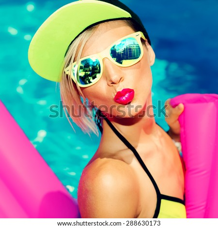 Glamorous Bright Fashion Lady Hot Party in Pool - stock photo