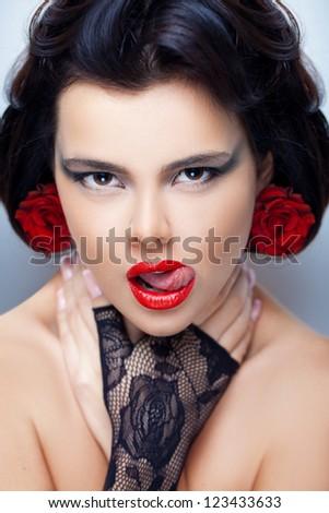 Glamorous brunette - stock photo