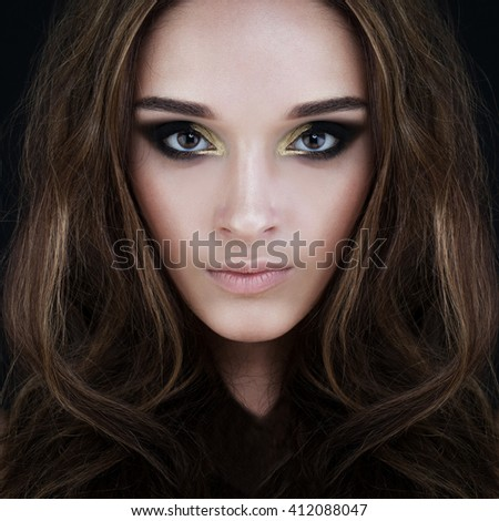 Glamorous Brunette Beauty. Perfect Face - stock photo
