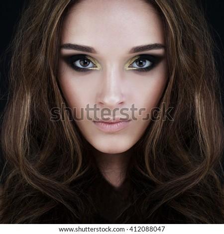 Glamorous Brunette Beauty. Perfect Face - stock photo