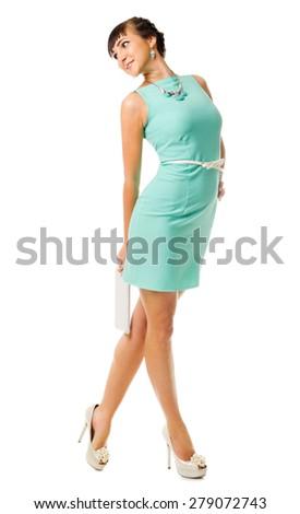 Glamorous girl in turquoise dress isolated - stock photo