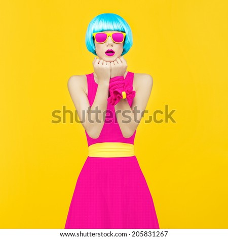 Glamorous lady bright style - stock photo