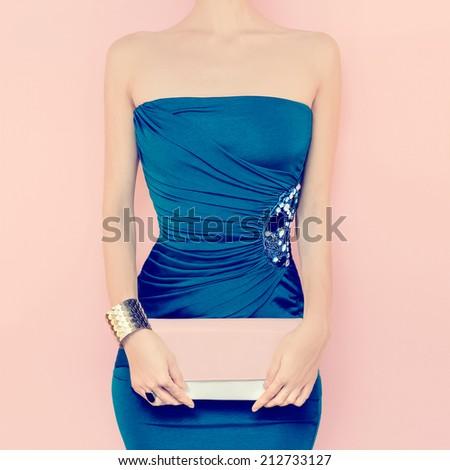 Glamorous lady. Fashion  ?vening dress - stock photo
