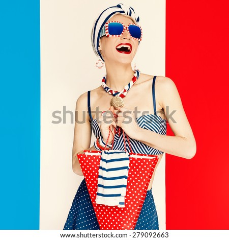 Glamorous Lady. Marine style. Fashion Vacation - stock photo