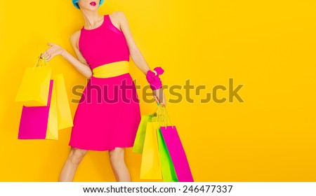 Glamorous Lady Shopping.Time discounts and Sales - stock photo