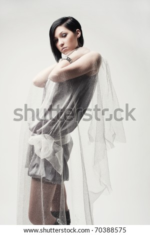 glamorous portrait of a young attractive brunette - stock photo