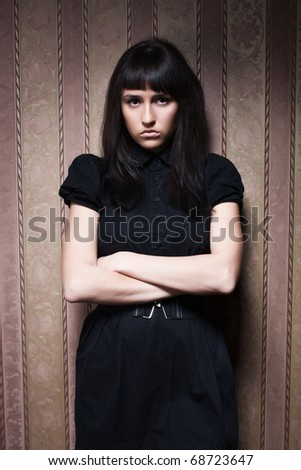 glamorous portrait of a young beautiful girl in the retro interior - stock photo