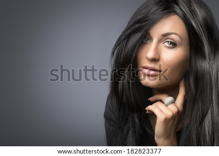 glamorous portrait of young beautiful woman - stock photo