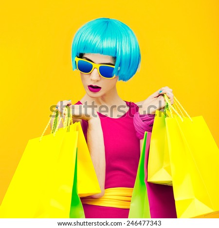 Glamorous Shopping Lady bright style.Bright Summer - stock photo