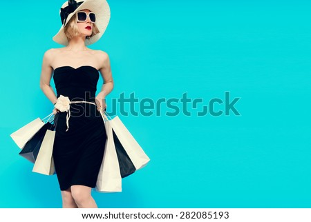 Glamorous Summer Shopping Lady Style - stock photo