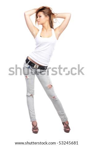 Glamorous young sexy woman on white background - stock photo