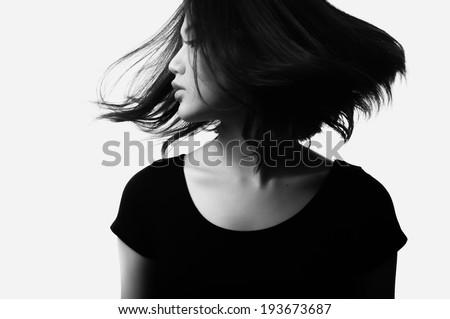Glamorous young sexy woman on white background, Black & White image - stock photo