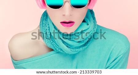 Glamorous young woman in stylish sunglasses - stock photo
