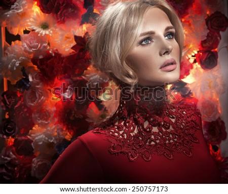 Glamour blonde beauty - stock photo