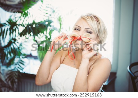Glamour bride on wedding celebration in a luxurious restaurant. \Vintage style.bride at wedding day, newlywed woman with wedding bouquet flowers.happy newlywed girl. marriage day. bride with flowers. - stock photo