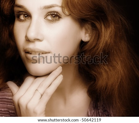 Glamour classic portrait of one sensual woman - stock photo