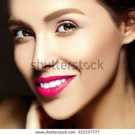 glamour closeup portrait of beautiful  woman model lady with fresh daily makeup with pink lips and clean face  - stock photo