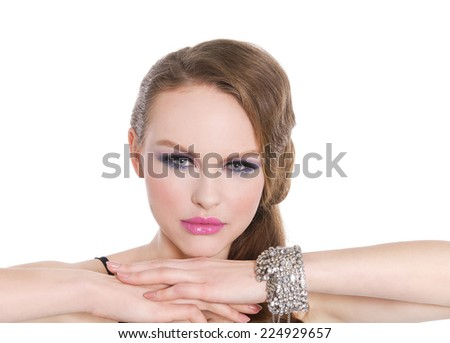 glamour girl with bright make-up-and bracelet - stock photo
