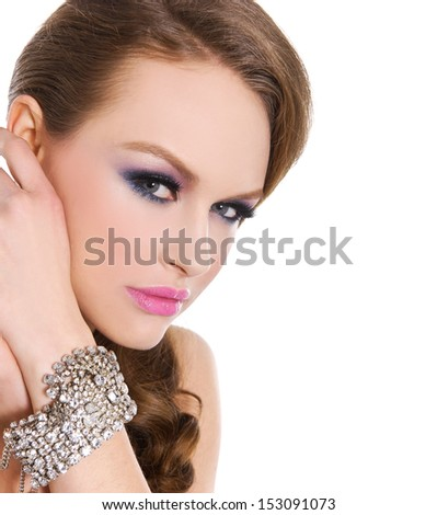 glamour girl with bright make-up-and bracelet , Jewelry - stock photo