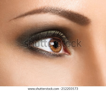 Glamour make up woman eye close up . High-end Retouch - stock photo