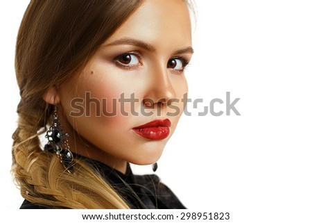 Glamour portrait of beautiful woman model with fresh daily makeup. Sexy gloss lips make-up. - stock photo