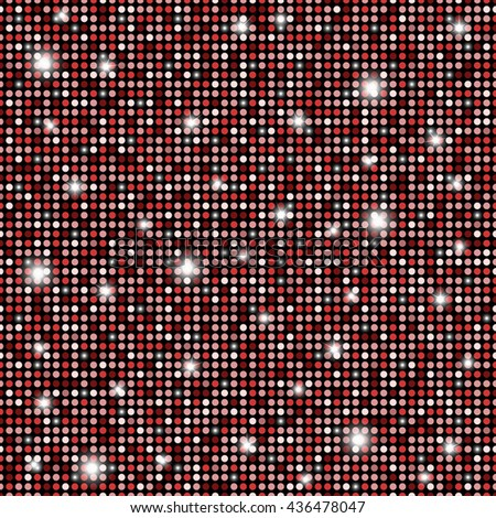 Glamour red, black and white shining rounds seamless texture background. Disco, luxury, information or network graphic design concept - stock photo