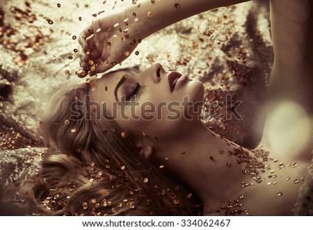 Glamour style beauty portrait - stock photo