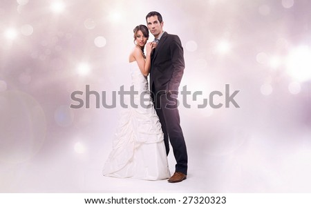 Glamour style studio wedding photo - stock photo