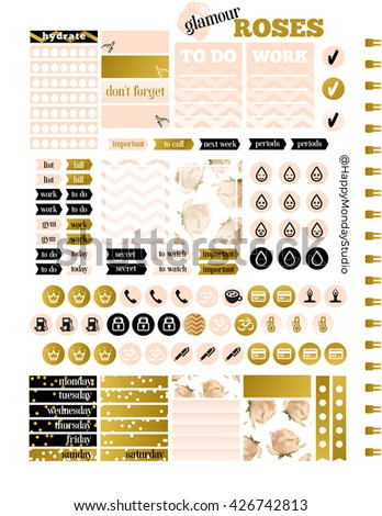 glamour summer royal roses printable planner stickers, letter size - stock photo