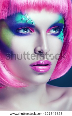 glamour woman in pink wig - stock photo