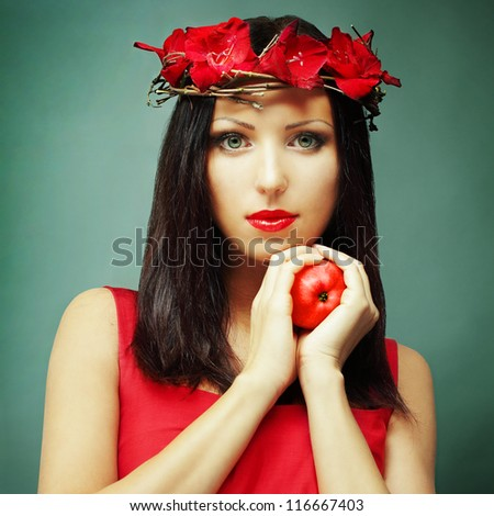 Glamour woman with healthy hair - fashion brunette - stock photo