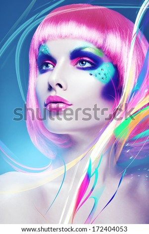 glamour woman with pink wig and lines - stock photo
