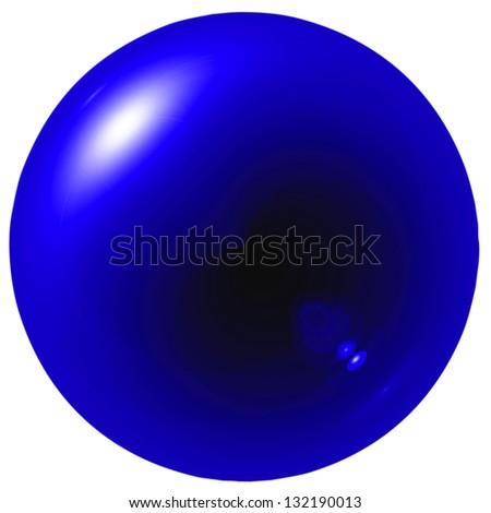 Glare dark blue ball isolated on white background - stock photo