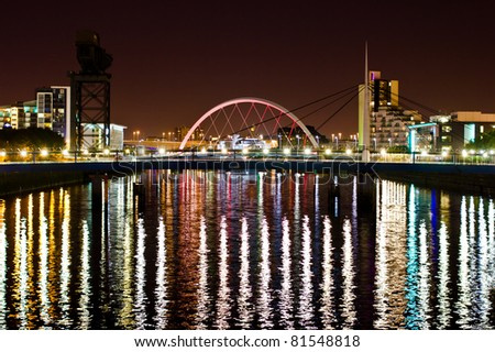 Glasgow's Arc Bridge at Night - stock photo
