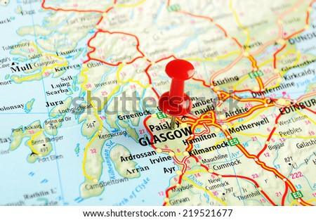 Glasgow Scotland  ,United Kingdom  map  and  pin - Travel concept - stock photo