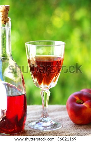 Glass and bottle of rose wine. - stock photo