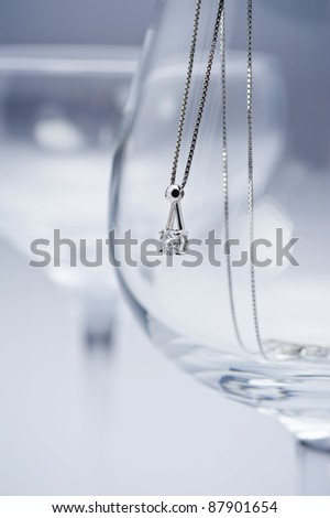 Glass and diamond necklace - stock photo