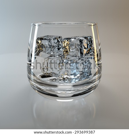 glass and ice cubes - stock photo