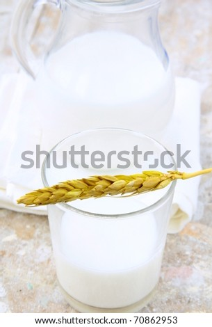 Glass and jar of milk on a gray background - stock photo