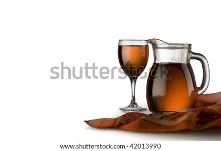 Glass and Jug with wine - stock photo