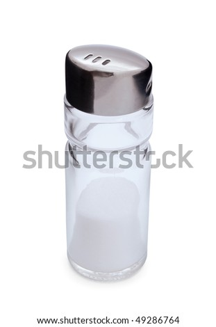 Glass and steel salt shaker with salt isolated on white - stock photo