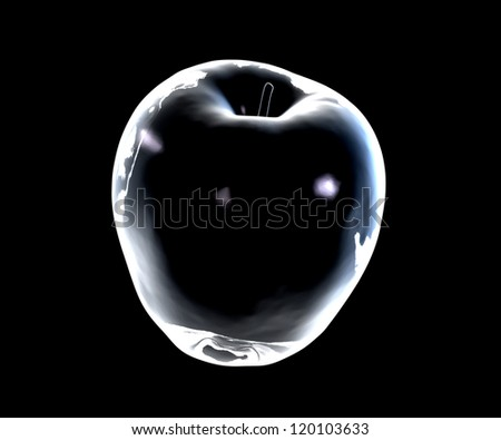 Glass apple on a dark background - 3D made - stock photo
