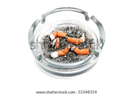 Glass ashtray with five cigarette buds isolated on white background - stock photo