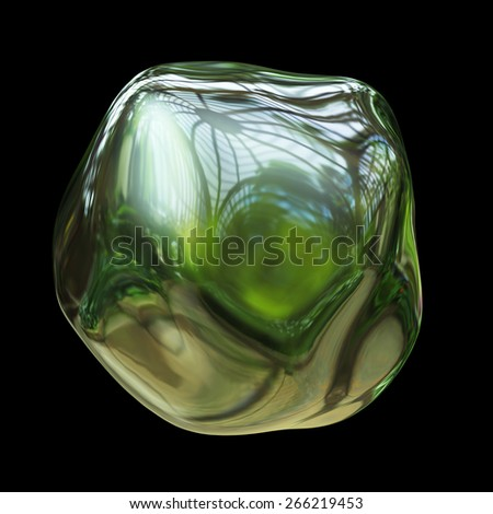 Glass ball with reflection isolated on black background. All world in the sphere. - stock photo