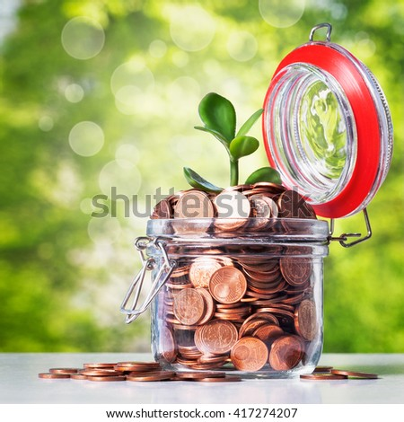Glass bank jar with coins and growing sprout on green tree background. Saving money concept - stock photo