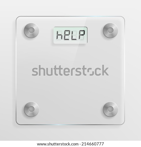 Glass bathroom scale. Overweight, weight loss and diet concept. - stock photo