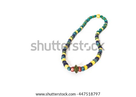 Glass bead necklace ancient stone on a white background,Krabi, Thailand - stock photo